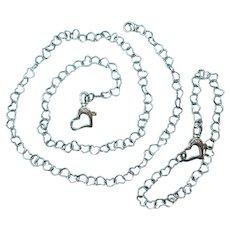 Vintage Sterling Silver Girls Heart Link Necklace and Bracelet Set