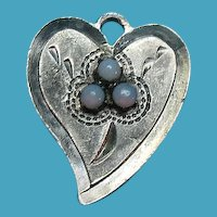 Victorian Heart Charm With Three Mounted Opal Stones