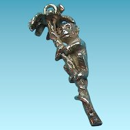 Vintage Sterling Silver Monkey Climbing a Palm Tree Charm