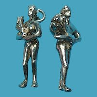 Vintage Silver Man Woman Charm Set Marriage Nudest Adam and Eve