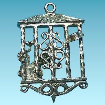 Vintage Silver Rare Garden Window Trellis Charm Scenes On Each Side