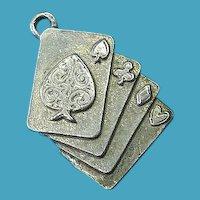 Vintage Sterling Silver Full House Poker Card Charm