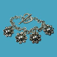 Vintage Sterling Taxco Large Daisy Flower Charm Bracelet Heart Toggle Clasp