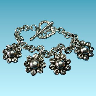 Vintage Sterling Silver Taxco Large Daisy Flower Charm Bracelet Heart Toggle Clasp with Stamped Daisies