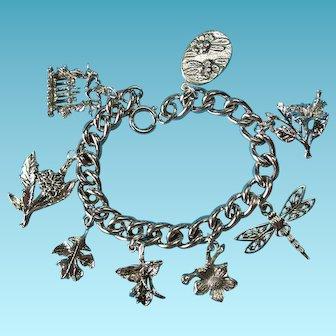 Vintage Sterling Silver Garden Theme Bracelet