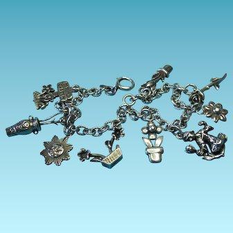 "Vintage Sterling Silver ""My Garden Flowers"" Charm Bracelet"
