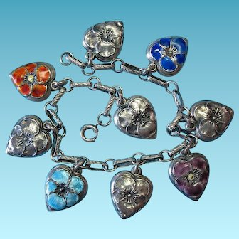Vintage Sterling Silver Victorian Bracelet with c1940 Puffy Heart Charms