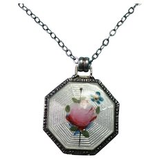Vintage Sterling Silver Guillouche Painted Rose and Forget Me Not Flower Necklace Pendant Charm