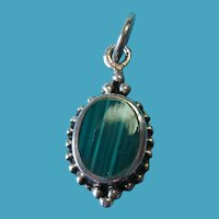Vintage Sterling Silver Green Malachite Necklace Charm