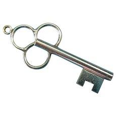 Vintage Sterling Silver Key Charm Pendant