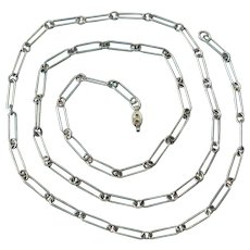 """Victorian Sterling Silver Paper Clip 24"""" Necklace"""