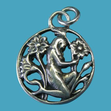 Vintage Sterling Silver Charm Pendant of a Garden Nymph in the Flowers