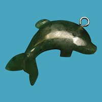 Vintage Carved Green Jade Dolphin Charm