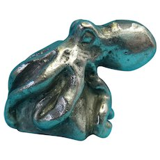 Vintage Cast Metal Silver Tone Octopus Figurine