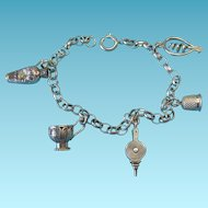 RARE Vintage Silver French Charm Bracelet 1838 and 1890's Cartouche Hallmarks