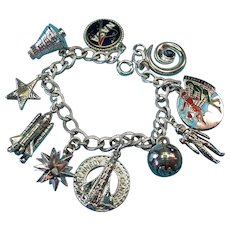 Vintage Sterling Silver Nasa Space Theme Charm Bracelet