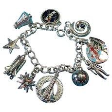 Vintage Sterling Silver Nasa Space Theme Charm Bracelet
