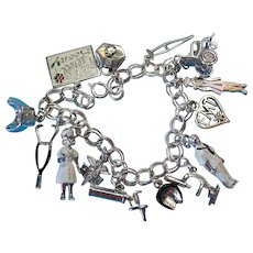 Vintage Sterling Silver Doctor Nurse Medical Theme Charm Bracelet