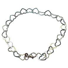 Vintage Sterling Silver Heart Link Bracelet