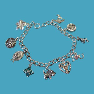 "Vintage Sterling Silver Mixed Tiny Charm Bracelet 6 3/4"" Length"