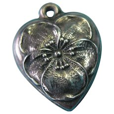 "Vintage 1940's Sterling Silver Pansy Puffy Heart Charm ""Gram"""