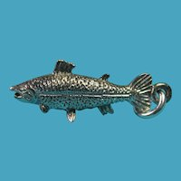 Vintage Sterling Silver Salmon Fish Charm