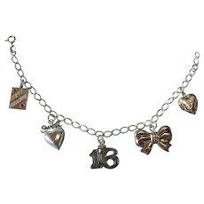 "Vintage sterling Silver ""HAPPY BIRTHDAY SWEET 16"" Charm Bracelet"