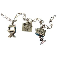 Vintage Sterling Silver Theme Universal Studios Charm Bracelet