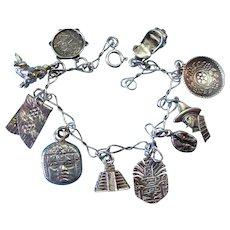 Vintage Sterling Silver South American Charm Bracelet