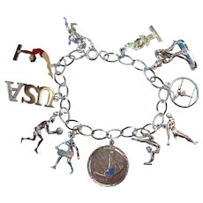 Vintage Sterling Silver Olympic Sports Theme Charm Bracelet
