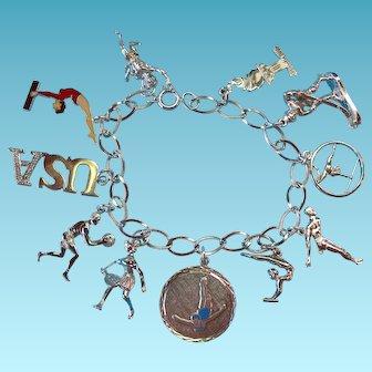 Vintage Sterling Silver Olympic Sports Theme Charm Bracelet