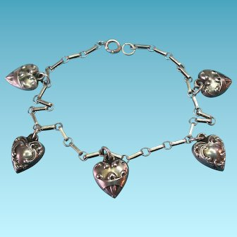 Vintage Sterling Silver LEC Mayers Charm Bracelet with Miniature Victorian Puffy Heart Charms