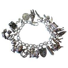 Vintage Sterling Silver Pirate Theme Charm Bracelet