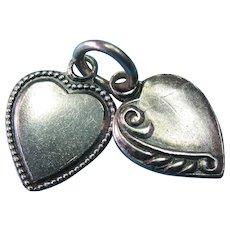 Vintage Sterling Mini Double Heart Charm Set