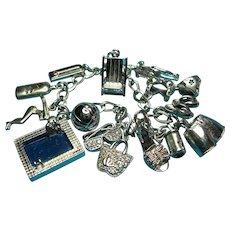 Vintage Sterling Silver Summer Swimming Theme Charm Bracelet