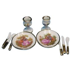 Vintage Miniature Dollhouse Limoges French Porcelain Dinner Set  for Two