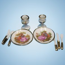 Vintage Miniature Dollhouse Limoges French Porcelain Dinner Set  for Two