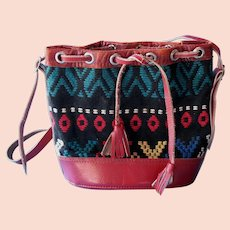 Vintage 1950s South Western Girls Purse Red Leather & Multi Color Woven Material