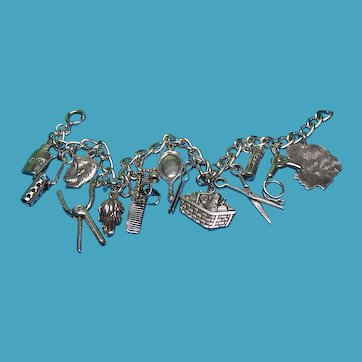 Vintage Sterling Silver Beauty Salon Theme Charm Bracelet