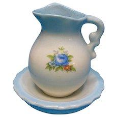 Vintage Doll House Miniature Porcelain Blue Floral Pitcher and Wash Bowl 1976