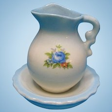 Vintage Doll House Miniature Porcelain Blue Floral Pitcher and Wash Bowl 1976