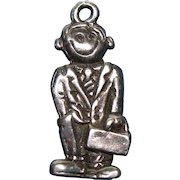 Vintage Sterling Silver 1940s Two- Sided  Salesmen Charm Smiling and No Expression RARE