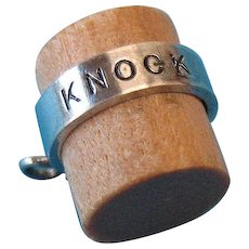 "Vintage Sterling Silver ""Knock On Wood"" Good Luck Charm"