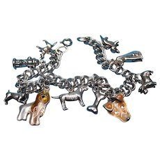 Vintage Sterling Silver Themed Dog Charm Bracelet