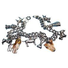 Vintage Sterling Silver Themed Dog Charm Bracelet