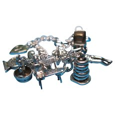 Rare Vintage Sterling Silver Baby Boy Theme Charm Bracelet #2