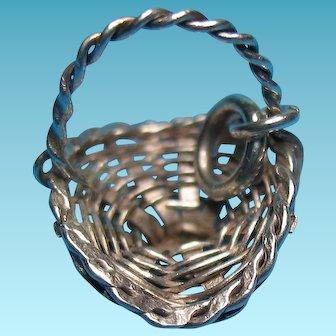 Vintage Mexico Sterling Silver Flower Basket Bracelet Charm