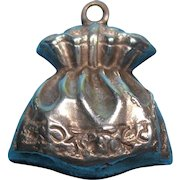 Victorian Sterling Silver Puffy Pouch Satchel Purse Bracelet Charm