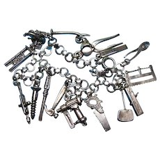 Vintage Sterling Silver Carpenter Theme Charm Bracelet with Rare Charms