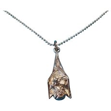 Vintage Sterling Silver Vampire Bat with Wooden Steak Charm Pendant Necklace